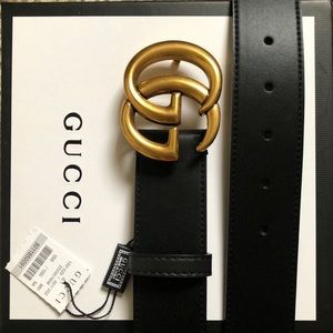 New Gucci GG Golden Double G Logo Belt With Tagss
